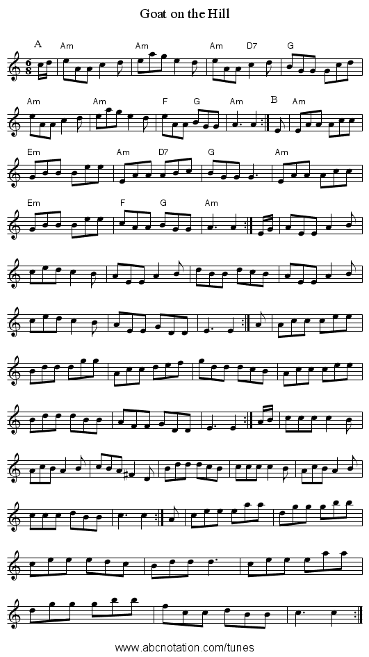 Goat on the Hill - staff notation
