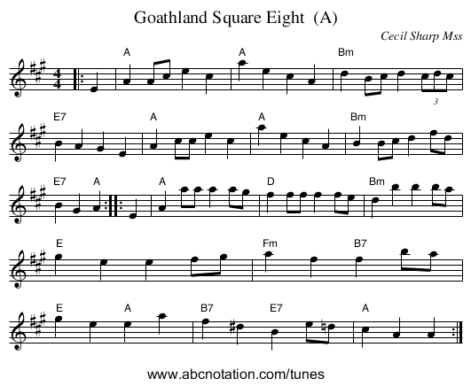 Goathland Square Eight  (A) - staff notation