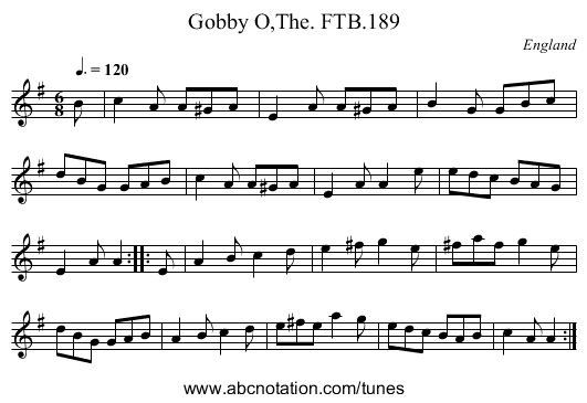 Gobby O,The. FTB.189 - staff notation