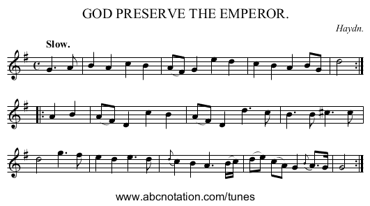 GOD PRESERVE THE EMPEROR. - staff notation
