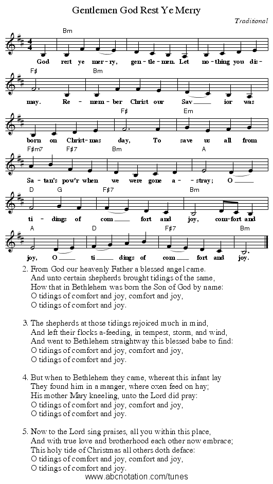God Rest Ye Merry, Gentlemen - staff notation