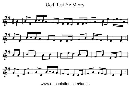 God Rest Ye Merry - staff notation