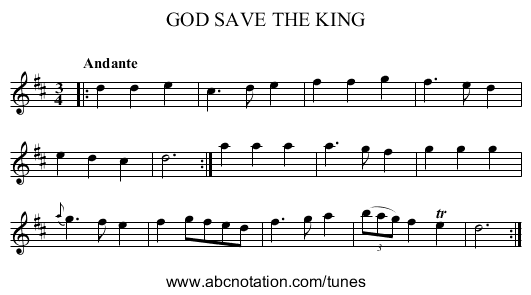 GOD SAVE THE KING - staff notation