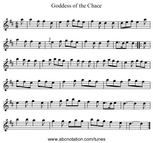 Goddess of the Chace - staff notation