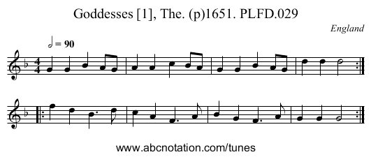 Goddesses [1], The. (p)1651. PLFD.029 - staff notation