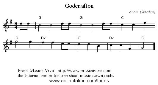 Goder afton - staff notation