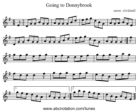 Going to Donnybrook - staff notation