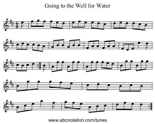 Going to the Well for Water - staff notation
