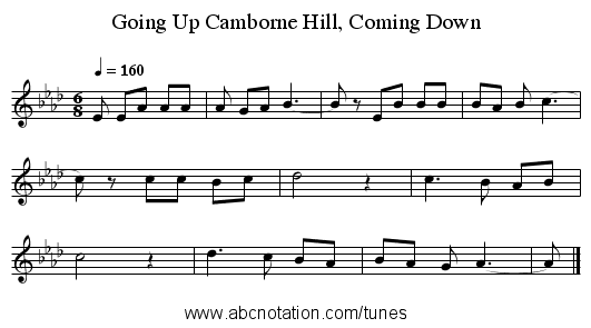 Going Up Camborne Hill, Coming Down - staff notation