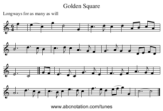 Golden Square - staff notation