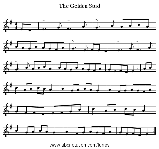 Golden Stud, The - staff notation