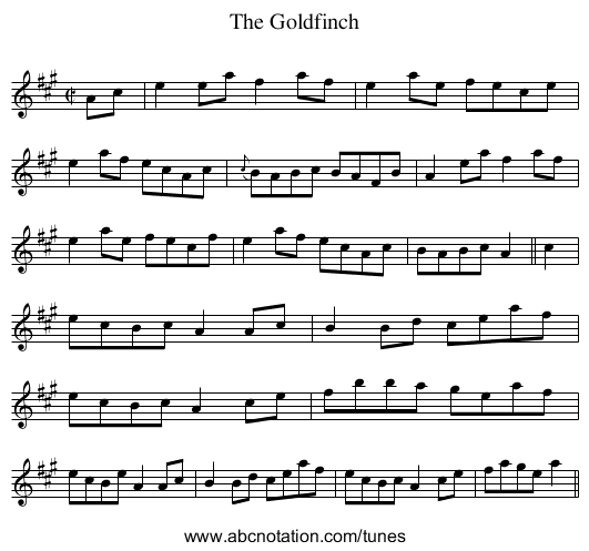 Goldfinch, The - staff notation