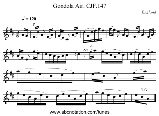 Gondola Air. CJF.147 - staff notation