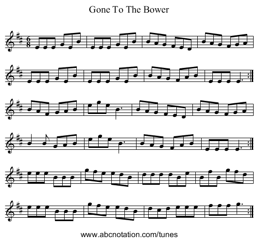 Gone To The Bower - staff notation