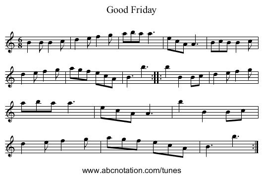 Good Friday - staff notation