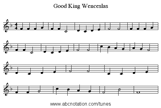 Good King Wenceslas - staff notation