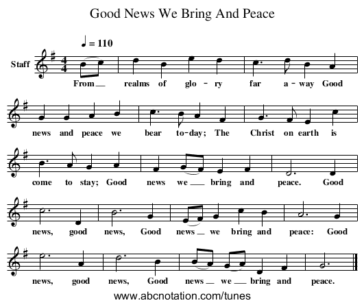 Good News We Bring And Peace - staff notation