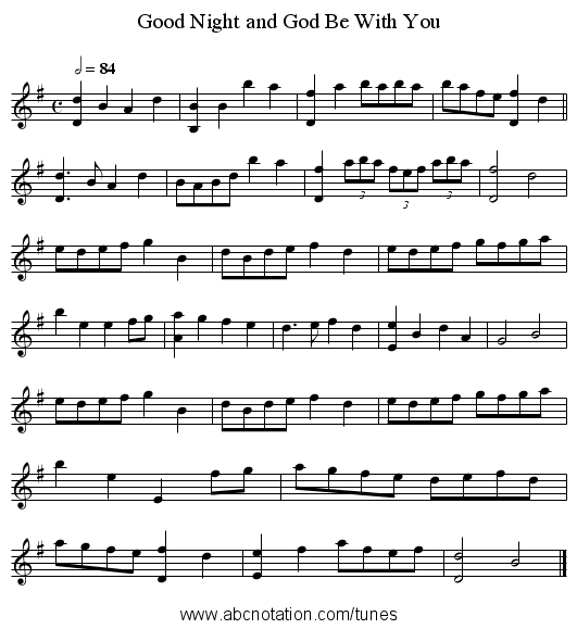 Good Night and God Be With You - staff notation