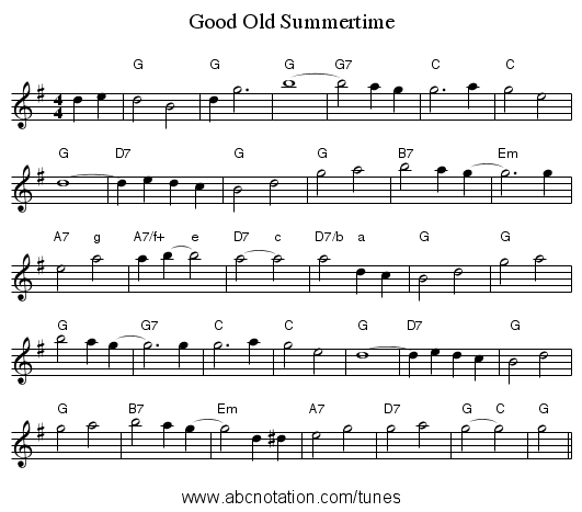 Good Old Summertime - staff notation