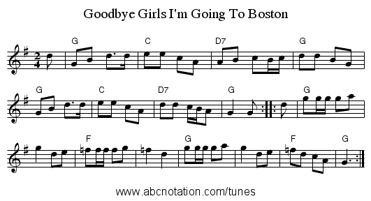 Goodbye Girls I'm Going To Boston - staff notation