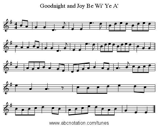 Goodnight and Joy Be Wi' Ye A' - staff notation