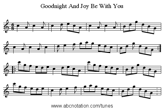 Goodnight And Joy Be With You - staff notation