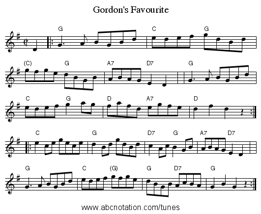 Gordon's Favourite - staff notation