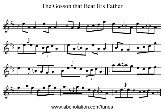 Gosson that Beat His Father, The - staff notation