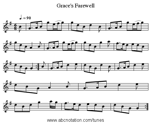 Grace's Farewell - staff notation