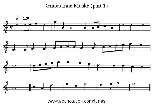 Graies Inne Maske (part 1) - staff notation