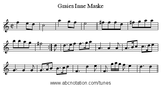 Graies Inne Maske - staff notation