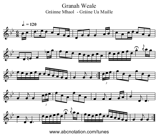 Granah Weale - staff notation