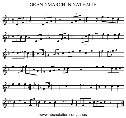 GRAND MARCH IN NATHALIE - staff notation