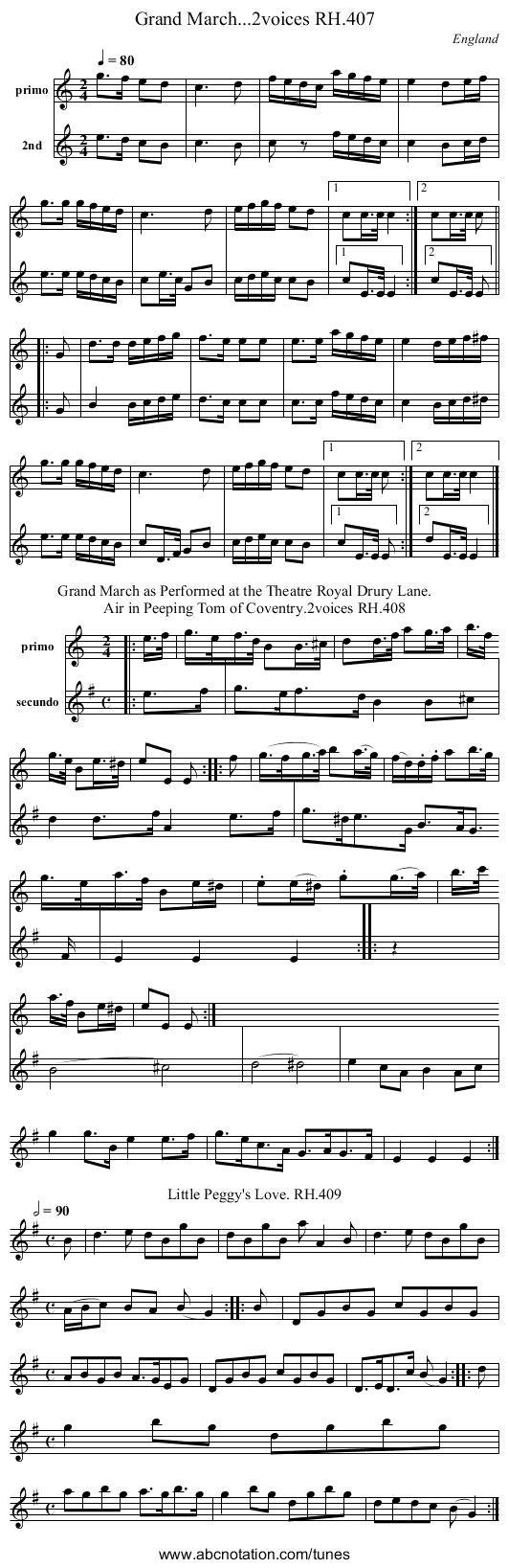 Grand March...2voices RH.407 - staff notation
