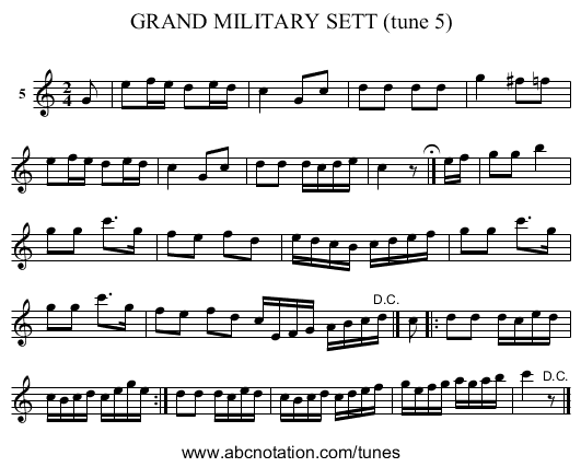 GRAND MILITARY SETT (tune 5) - staff notation