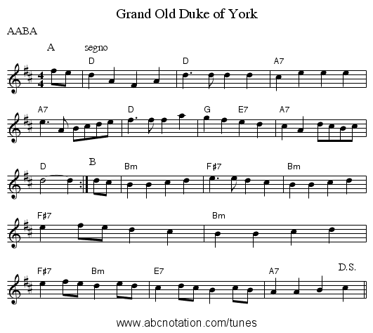 Grand Old Duke of York - staff notation