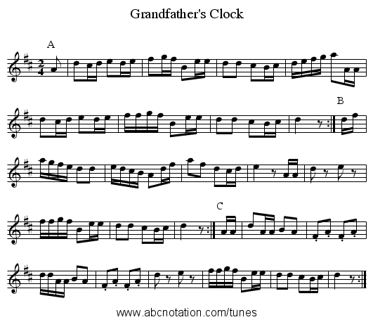 Grandfather's Clock - staff notation