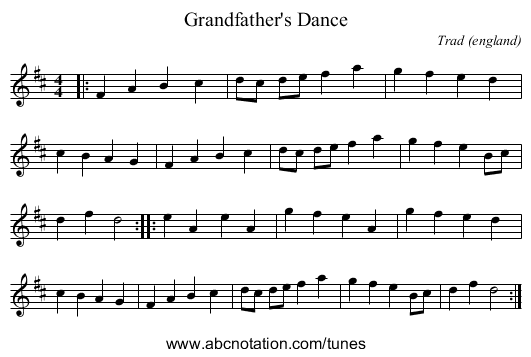 Grandfather's Dance - staff notation