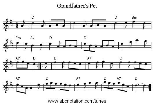 Grandfather's Pet - staff notation