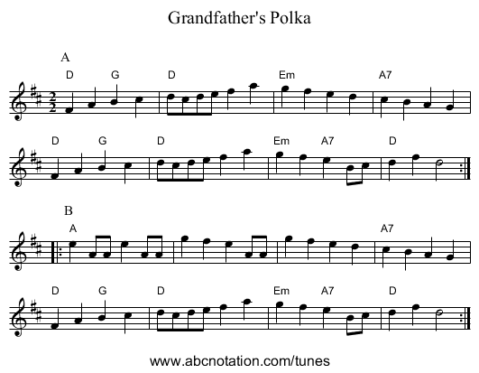 Grandfather's Polka - staff notation
