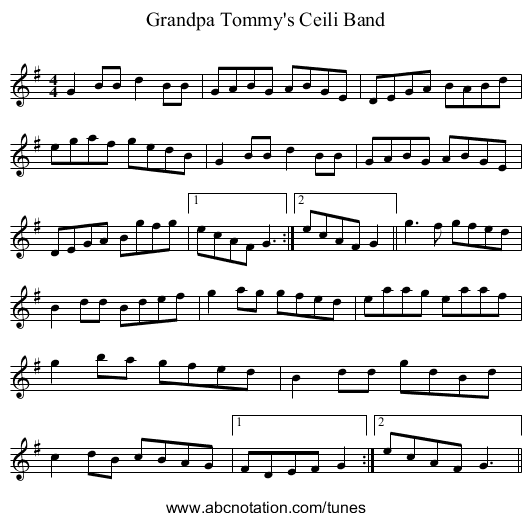 Grandpa Tommy's Ceili Band - staff notation