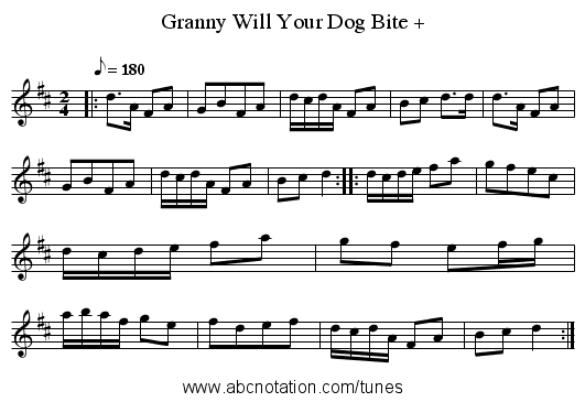 Granny Will Your Dog Bite + - staff notation