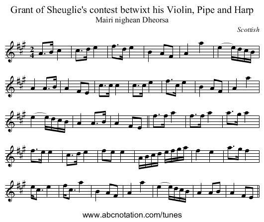 Grant of Sheuglie's contest betwixt his Violin, Pipe and Harp - staff notation