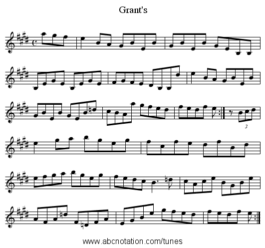 Grant's - staff notation