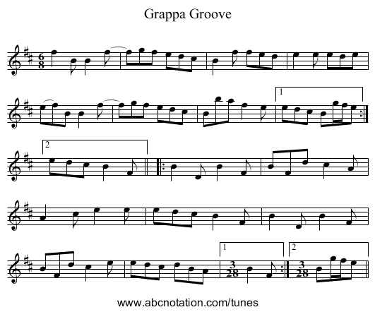 Grappa Groove - staff notation