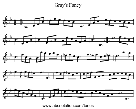 Gray's Fancy - staff notation