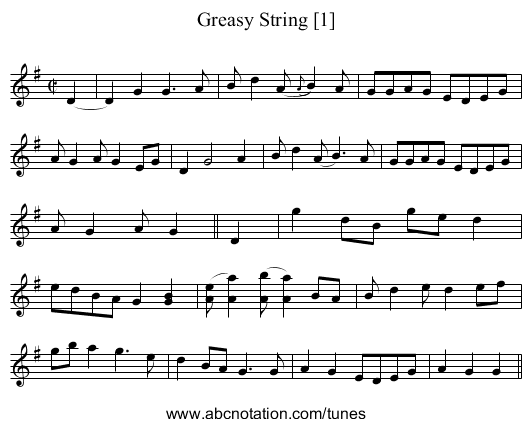 Greasy String [1] - staff notation