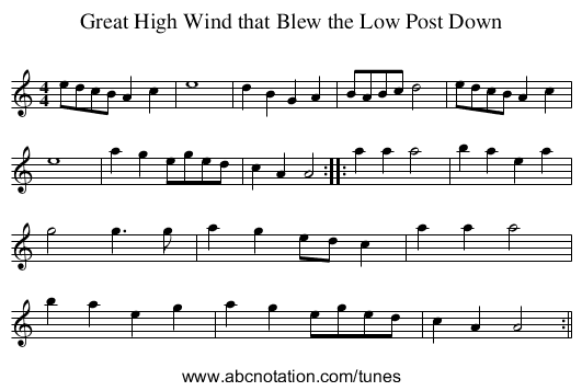 Great High Wind that Blew the Low Post Down - staff notation