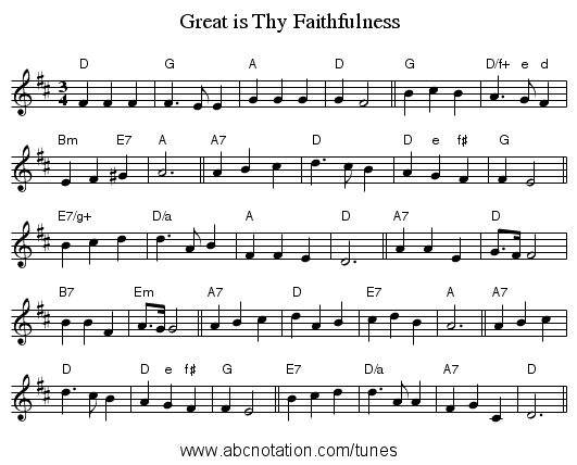 Great is Thy Faithfulness - staff notation
