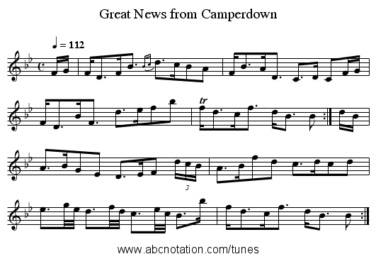 Great News from Camperdown - staff notation